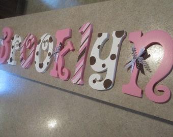 Nursery letters, Nursery wall hanging letters, Pink, White  & Brown nursery decor, nursery wall letters