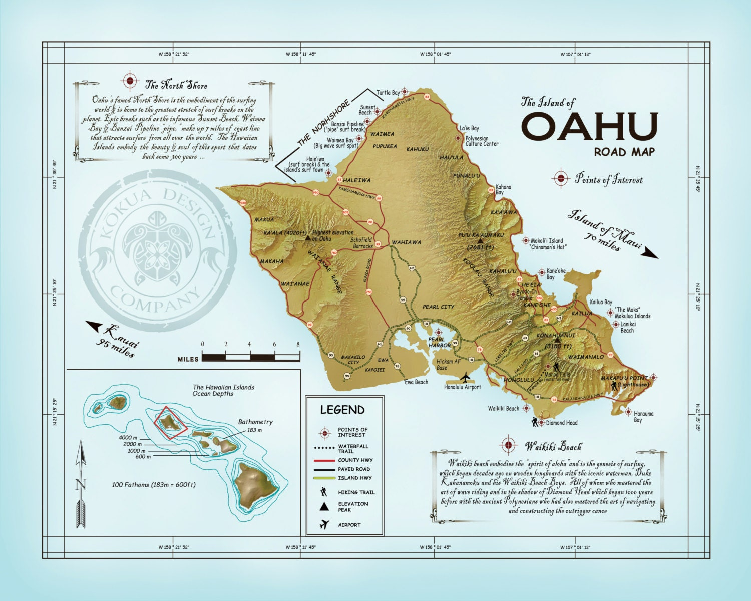 The Island Of Oahu Atlas Inspired 11 X 14 Road Map