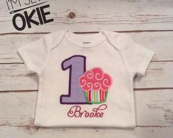 First birthday cupcake onesie