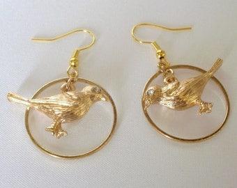 Bird Earrings, Novelty Earrings, Gold Earrings, Casual Wear, Fun Earrings, Lightweight, Shepherd's Hook, Sparkling Earrings, Gold Bird