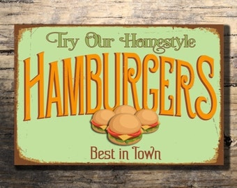 HAMBURGERS RESTAURANT SIGN, Hamburgers Signs Vintage style Hamburgers Sign, Restaurant Sign, Diner, Restaurant Decor, Cafe Sign, Hamburger