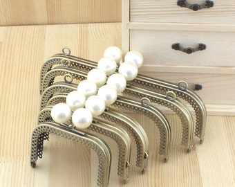 1 PCS, Various Size Squared Purse Frame Kisslock Closure with Solid Cream Beads #279