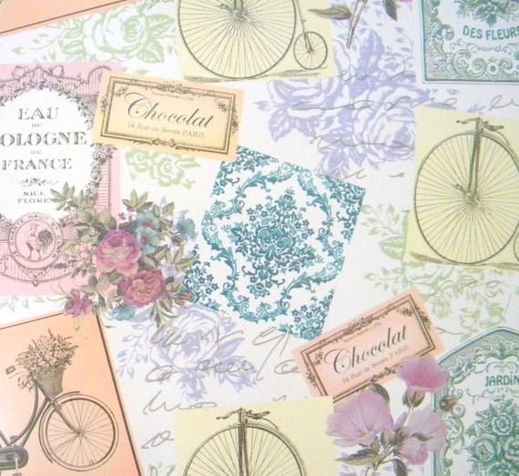 vintage themed feminine wrapping paper 10 ft roll with a