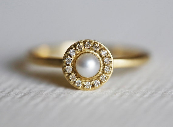 Pearl Engagement Ring Diamond Wedding Ring Diamond Wedding