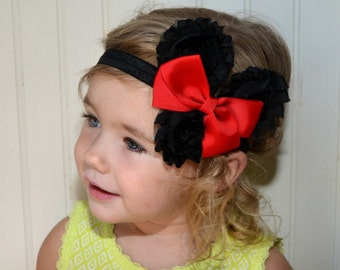 Minnie Mouse Headband  -  Red Minnie Mouse Halloween Costume - Disney Headband - Baby Headband Toddler Adult Headband Minnie Mouse Costume