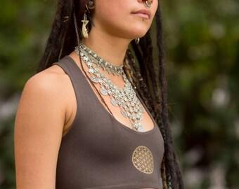 Teva Flow Bra with Flower of Life (Brown) - Handmade Flower of Life Bra Open Back Yoga Bra, Gypsy Tribal Goa Hippie Fair Yoga Clothing