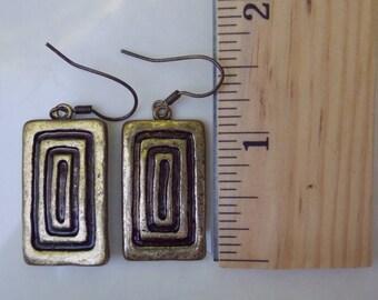 Deco Rectangle Design Brass Dangle Earrings - Free Shipping