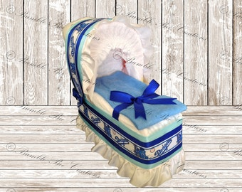 Diaper Bassinet - Diaper Carriage - LA Dodger's Teddy Bear Theme - Baby Shower Gift - Baby Shower Centerpiece
