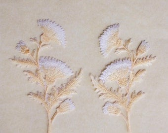 Pale gold thistle applique set of 2
