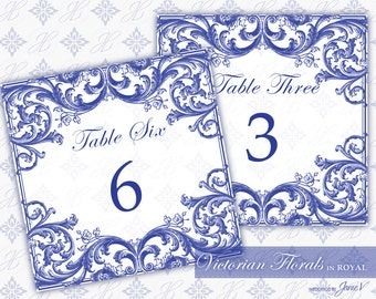 DIY Printable Wedding Table Number Template | Printable Table Number (Tent Style) | Victorian Florals in Royal