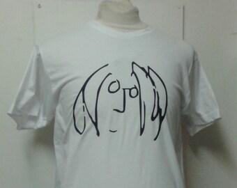 John Lennon Self Portrait Sketch The Beatles Printed T-shirt Top. Rare Mod 60s Vintage Tour Style