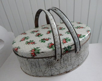 Shabby Chic Grandmother's Button Tin with Red Rose Bud Design - Vintage Tin for Storing Buttons, Sewing Notions & What Not