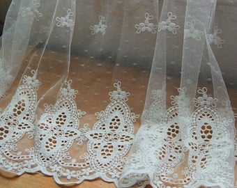 Double sides White Lace trim, Net yarn lace, Curtain fabric, Lace embroidery, Wedding accessories, by the yard - 1.35 m wide x 1 yard