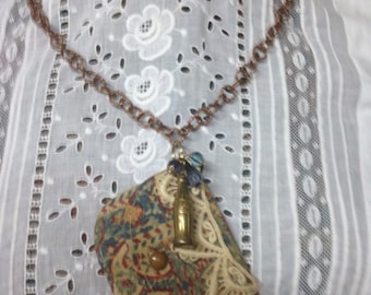 VINTAGE PURSE altered upscaled vintage assemblage necklace coca cola charm, dangles, lace, repurposed, mixed media