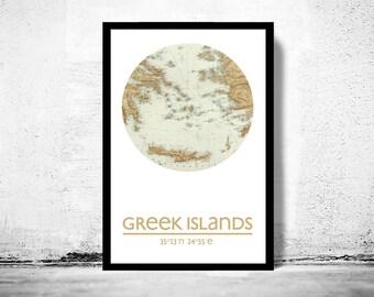 GREEK ISLANDS - city poster - city map poster print