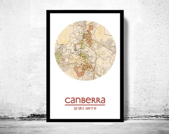 CANBERRA - city poster - city map poster print