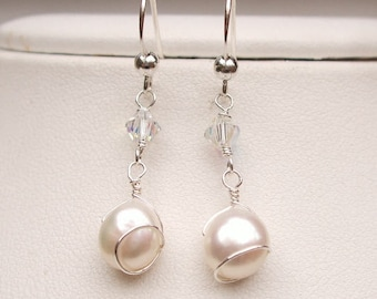 Baroque Freshwater Pearl earrings Sterling Silver wire wrapped pearl drop earrings bridal earrings wedding jewellery bridesmaid jewelry gift