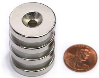 "4 Piece N42 Neodymium Magnet Dia 1X3/16"" /w #10 Countersunk Hole ND051-42NM-#10"