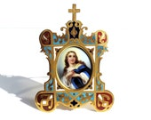 French Vintage  Hand Painted Porcelain Portrait Of Virgin Mary In A Champleve Frame