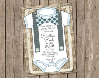 Bowtie Onsie Invitation, Boy Baby Shower Invitation, Suspenders and Bowtie, Baby Blue and Polka Dot Bowtie Invitation, Burlap Baby Shower