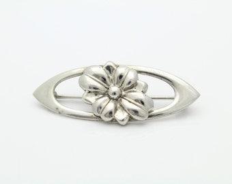 Vintage Sterling Silver Embossed Flower Brooch WRE. [2948]