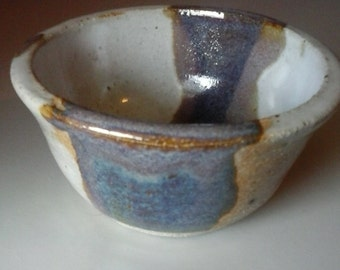 Vintage Hand Thrown Pottery Bowl Signed By Artist White Blue Purple Brown Glaze