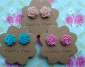 Vintage style rose earrings - pretty pink, peach or blue flower stud earrings uk