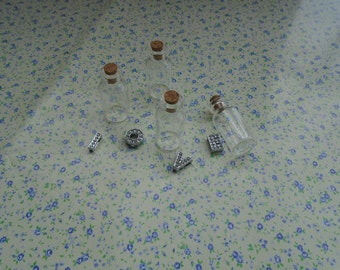 100pcs 40*18mm clear glass bottle with cork , BB2009