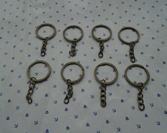 300pcs antique bronze color 1 inch diameter split key ring with 1 inch length key chain , CM2033