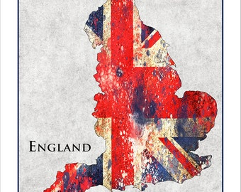 ENGLAND Map, Union Jack, Map of England, BRITAIN, London, Great Britain, UK, British Isles, Flag Map, British Flag