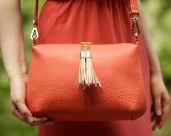 Coral leather bag, woman bag, leather bag, orange bag, coral crossbody,orange leather bag, tassel bag, leather purse, genuine leather purse