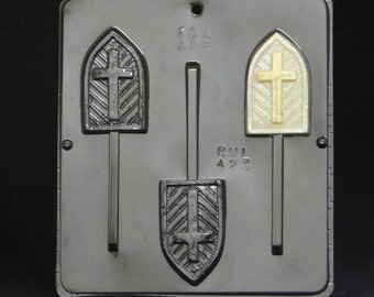 Cross on Church Window Lollipop Chocolate Candy Mold Religious 423