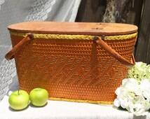 Large Vintage Picnic Basket, Wicker, Redmon Peru, Indiana, metal handles, orange yellow, hinged lid, wood, weave, braid, woven