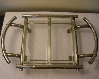 Faux Bamboo Serving Tray Hollywood Regency Chrome Divided Relish / Hor D'oeuvres / Jewelry Display Holder