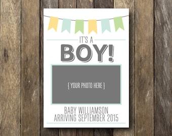 Sonogram Pregnancy Announcement - Printable Pregnancy Reveal - Photo Announcement - It's a Boy Gender Reveal - Gender Pregnancy Announcement