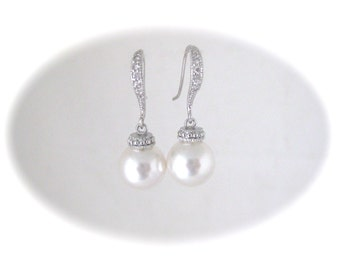 Wedding Pearl Earrings Bridal Jewelry Earrings Swarovski Pearl and Rhinestone Earrings
