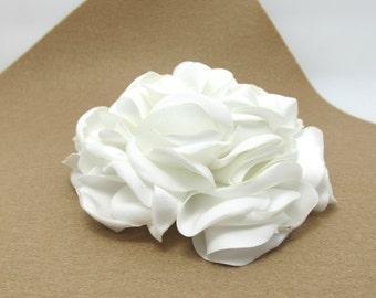 3 7/8 Inches White Satin Flower|Burned Edges|Satin Rose|Hair Flower|Brooch Pin|Fabric Flower|Applique|Handmade|Floral Supply|Embellishment