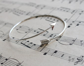 Bow and Arrow Bracelet, Silver adjustable Bangle, Simple Stackable jewellery