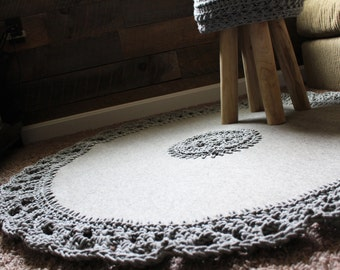 Large Round Wool Rug With Crochet Cotton Rope Edge Handmade Industrial Grey