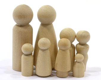 20-Sets Family of 8 (160-pieces)-Wooden Peg People-Solid Hardwood Natural Unfinished High Quality Turnings-Ready for Paint-Waldorf People