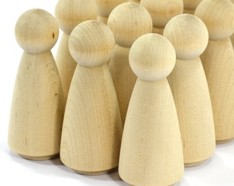 """100-Grandma Peg Dolls (3-1/2"""")-Solid Hardwood Natural Unfinished High Quality Turnings-Ready for Paint or Stain-Waldorf Wooden People"""