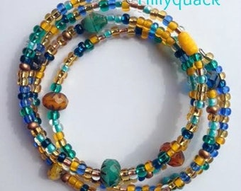 Beaded wrap bracelet  - sunny skies.