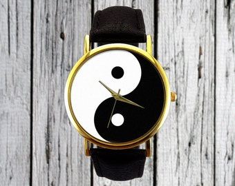 Yin Yang Symbol Watch | Black and White Watch | Leather Watch | Womens Watch | Ladies Watch | Men's Watch | Gift Idea | Chinese Philosophy