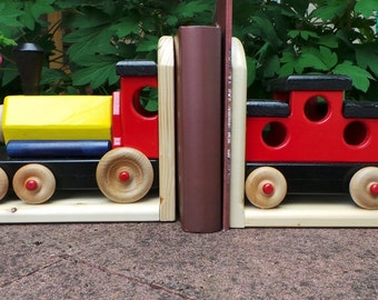 Handmade Wooden Train Bookends