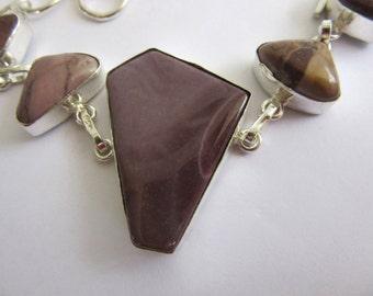 Natural Purple Brown Mookaite Jasper Crystal Silver Chain Bracelet