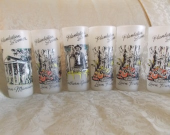 Vintage Set Of Six Plantation Scences Frosted Glasses (1100)