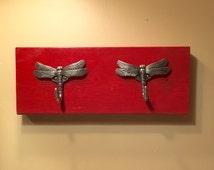 Dragonfly, Cast iron dragonfly, Dragonfly decor, decorative rack, dragonfly hooks, towel rack, bathroom decor, coat rack, cast iron hooks