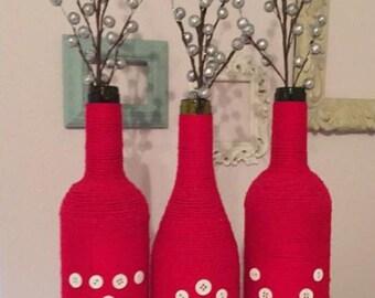 Joy wine bottles, Christmas decor, Christmas centerpiece, Christmas gift, reclaimed wine bottles, decorative Christmas wine bottles