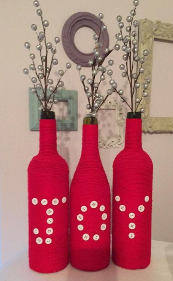 Joy wine bottles christmas decor christmas centerpiece for Christmas bottle decorations