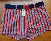 """Vintage 1970s red white blue belted swimming trunks shorts swimwear anchor 32"""" waist"""